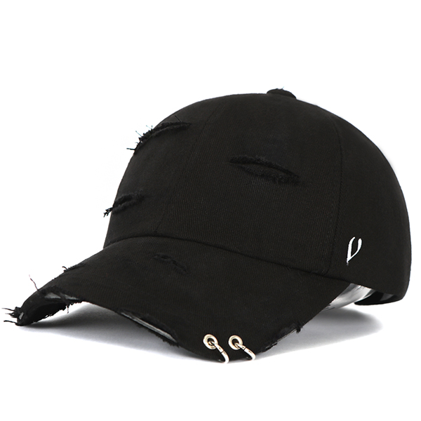 [VIBRATE] BLACK LINE - DAMAGED TWIN RING BALL CAP (black)