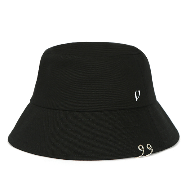 [VIBRATE] BLACK LINE - TWIN RING BUCKET HAT (black)