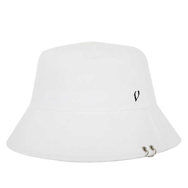 [VIBRATE] BLACK LINE - TWIN RING BUCKET HAT (white)