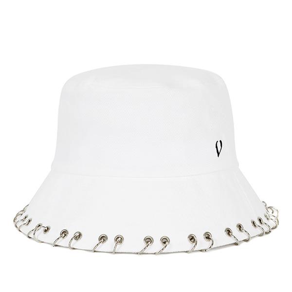 [VIBRATE]BLACKLINE - RING PIERCING BUCKET HAT (WHITE)