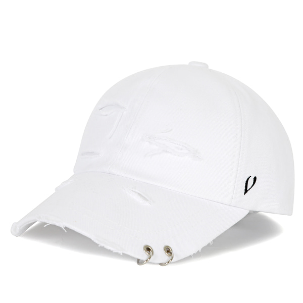[VIBRATE] BLACK LINE - DAMAGED TWIN RING BALL CAP (white)