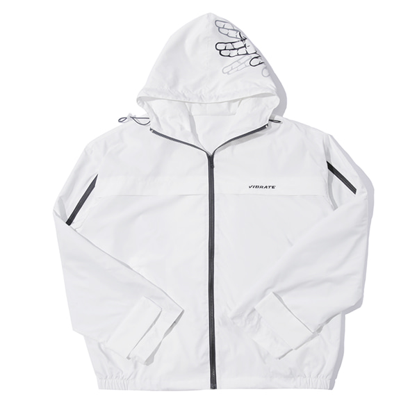 [VIBRATE] - SIDE ZIPPER WINDBREAKER (white)
