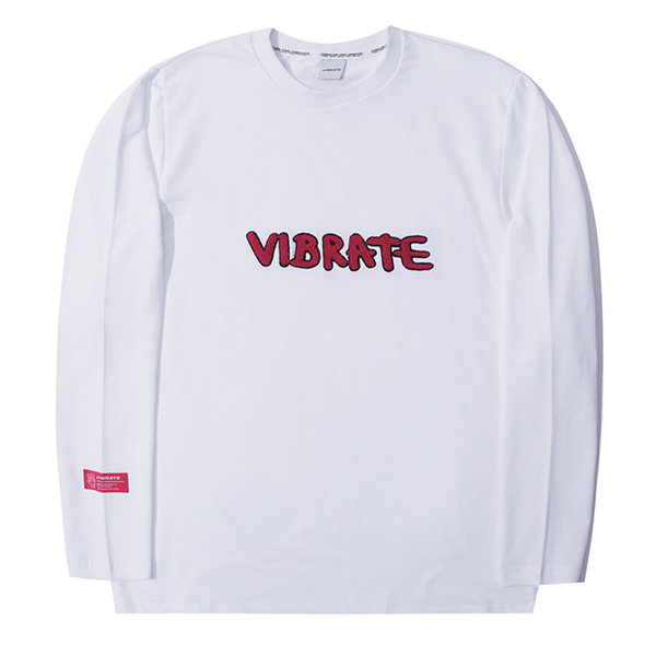 [VIBRATE] - LETTERING EMBROIDERY LONGSLEEVE (white)