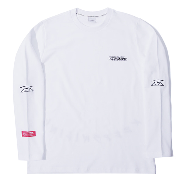 [VIBRATE] - KEEP SMILING EMBROIDERY LONGSLEEVE (white)