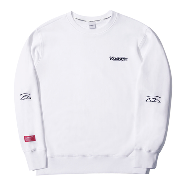 [VIBRATE] - KEEP SMILING EMBROIDERY MANTOMAN (white)
