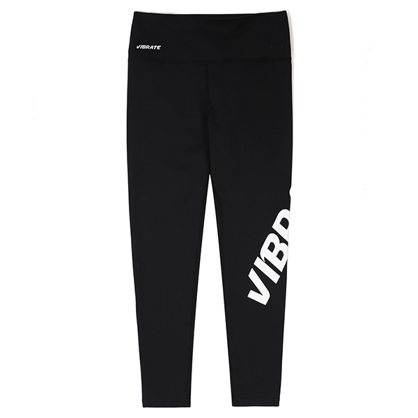 [VIBRATE] - TWISTED SIDE LINE LOGO LEGGINGS (BLACK)