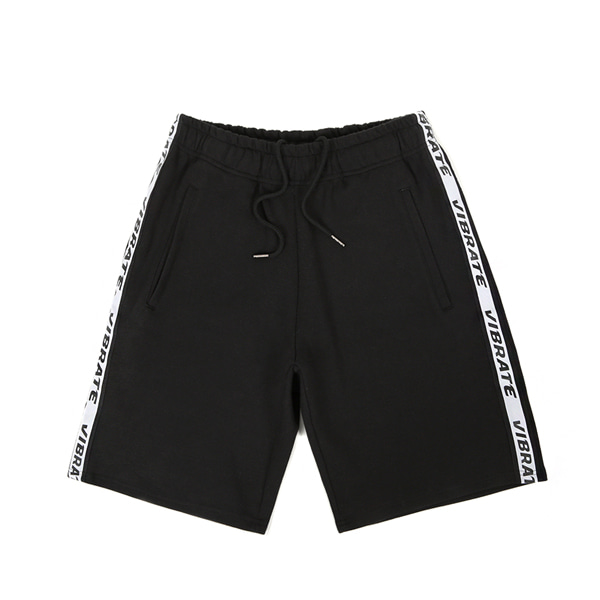 [VIBRATE] - BASIC LOGO WEBBING TAPE SHORT PANTS (BLACK)