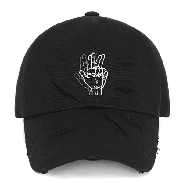 [VIBRATE] - DAMAGED FINGER BALL CAP (BLACK)