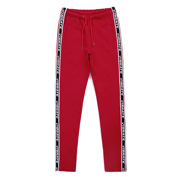 [VIBRATE] - SIDE ZIPPER TAPING PANTS (RED)