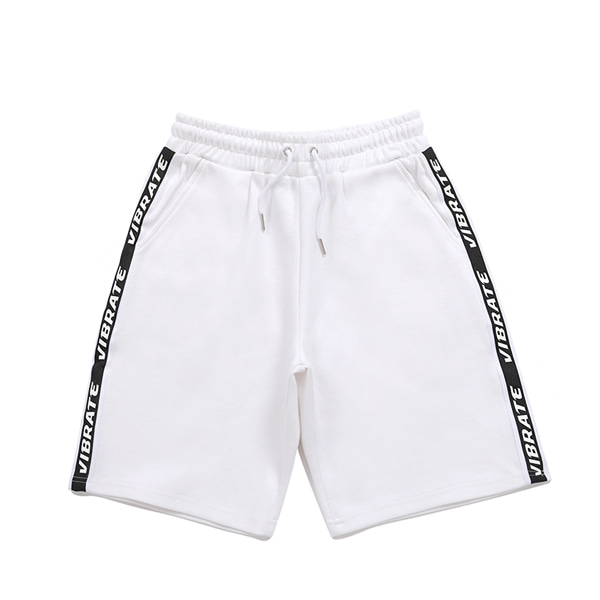 [VIBRATE] - BASIC LOGO WEBBING TAPE SHORT PANTS (WHITE)