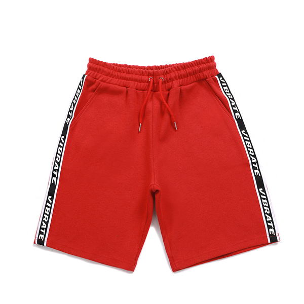 [VIBRATE] - BASIC LOGO WEBBING TAPE SHORT PANTS (RED)