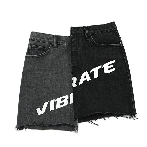 [VIBRATE] - UNBALANCE COLOR SCHEME SHORT SKIRT (woman) (BLACK)