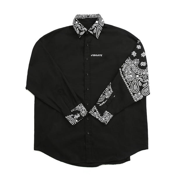 [VIBRATE] - PAISLEY OVER SHIRTS (BLACK)