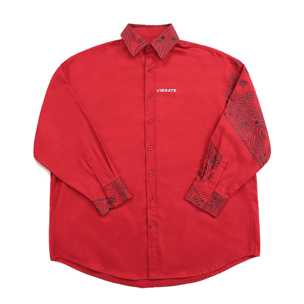 [VIBRATE] - PAISLEY OVER SHIRTS (RED)