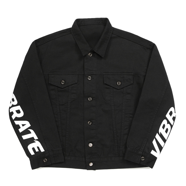[VIBRATE] - BASIC DENIM JACKET (BLACK)