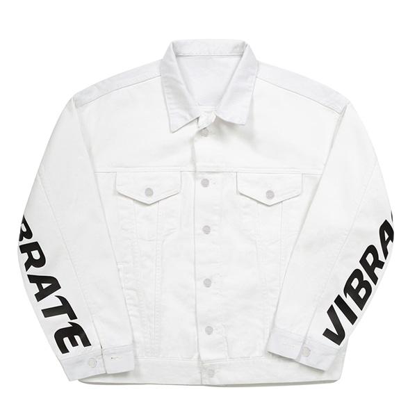 [VIBRATE] - BASIC DENIM JACKET (WHITE)