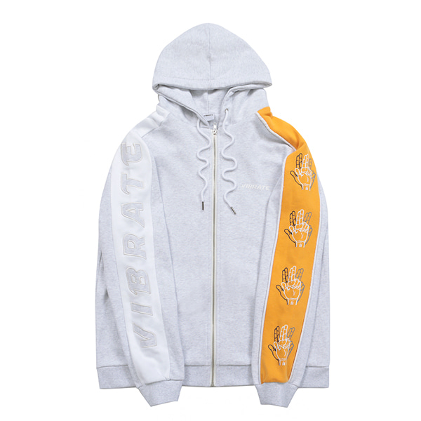 [VIBRATE] - SLEEVE COLOR SCHEME HOODIE ZIPUP (woman) (MELANGE&YELLOW)