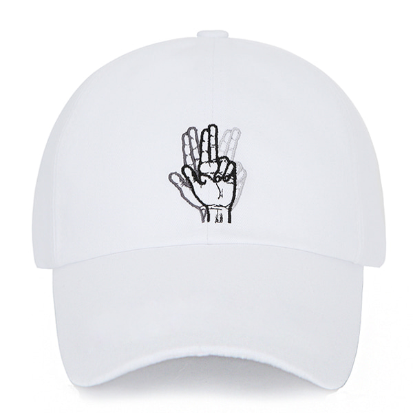 [VIBRATE] - CLASSIC HAND SIGN BALL CAP (WASHING WHITE)