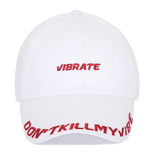 [VIBRATE] - D.K.M.V VISOR EMBROIDERY BALL CAP (WHITE&RED)