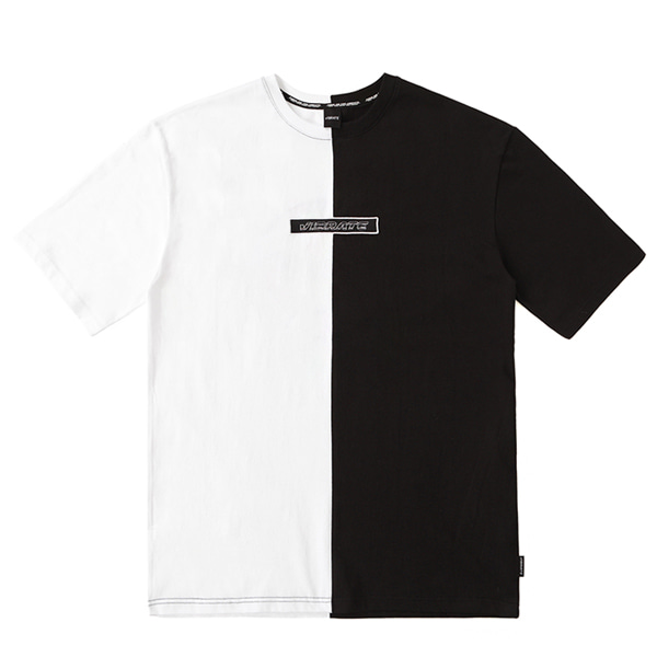 [VIBRATE] - SPLIT APPLIQUE T-SHIRT (BLACK&WHITE)