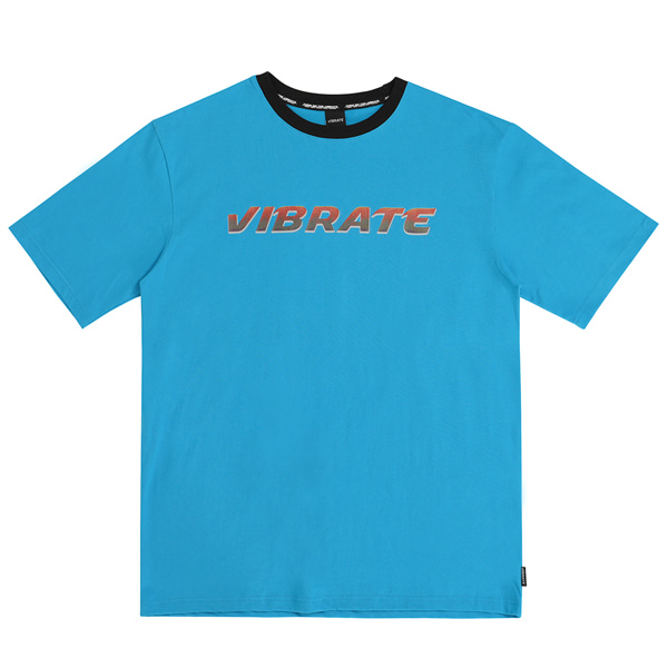 [VIBRATE] - NECK POINT TWO TONE T-SHIRT (BLUE)