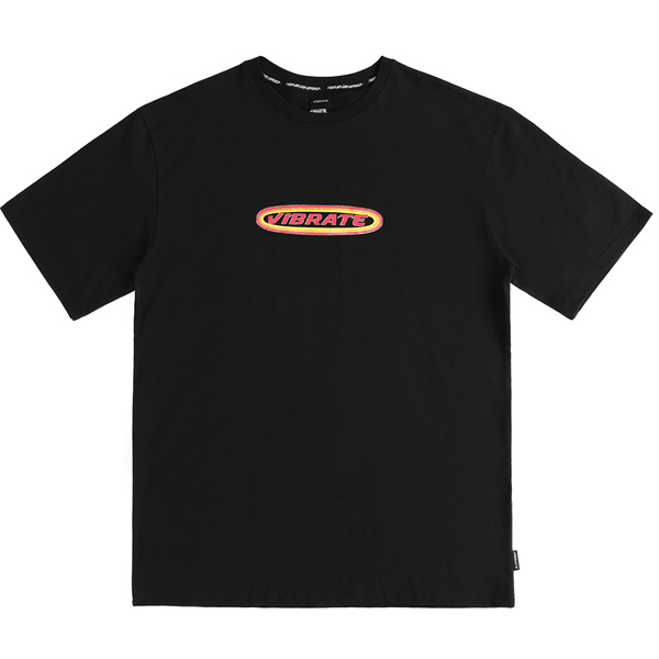 [VIBRATE] - TWO TONE ROUND LOGO T-SHIRT (BLACK)