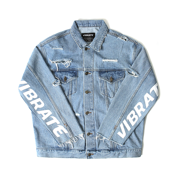 [VIBRATE] - DAMAGED DENIM JACKET (denim)