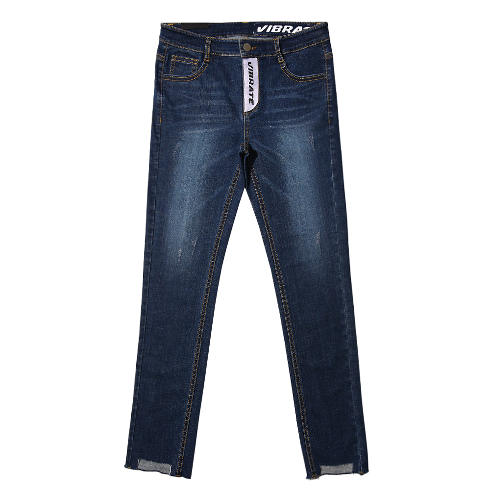 [VIBRATE] - UNBALANCE CUTTING DENIM PANTS (DENIM)