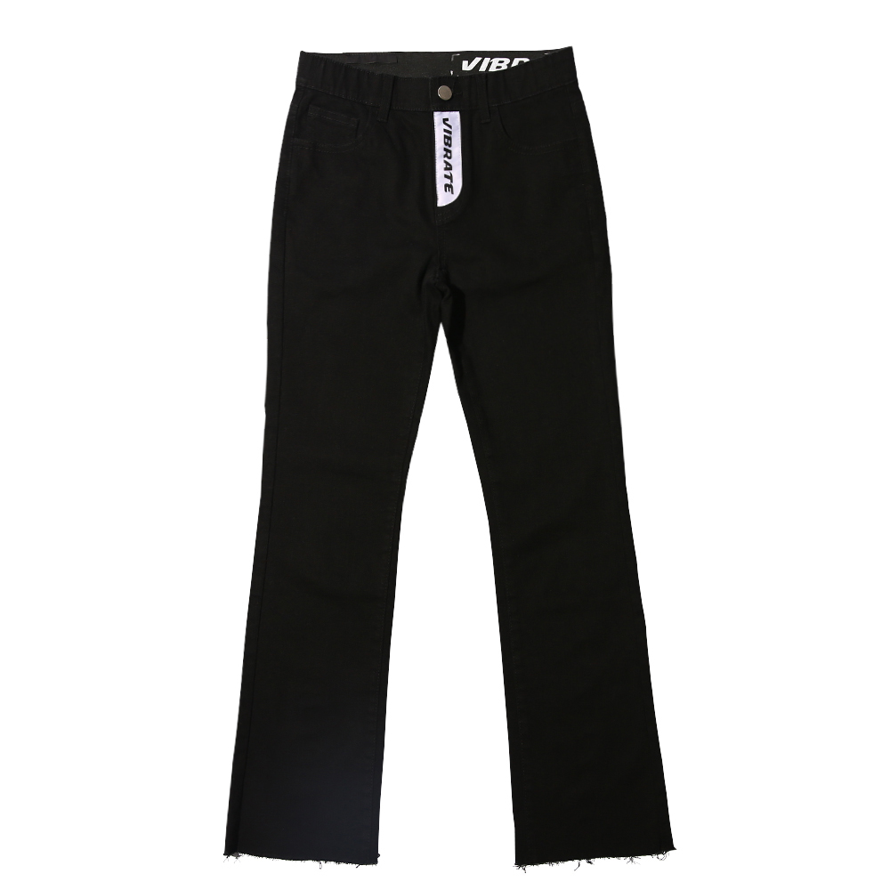 [VIBRATE] - TWIN LOGO DENIM PANTS (BLACK)